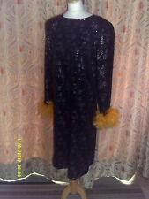 Drag Queen SHORT black sequin dress gold feathers 20/22