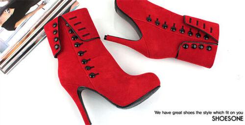 Women High Heels Stiletto Pump Button Up Shoes Mid Calf Height Boots Pop Design