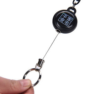 Retractable-Card-Holder-Steel-Recoil-Ring-BeltClip-Pull-Key-Chain-Keyring-CordAT