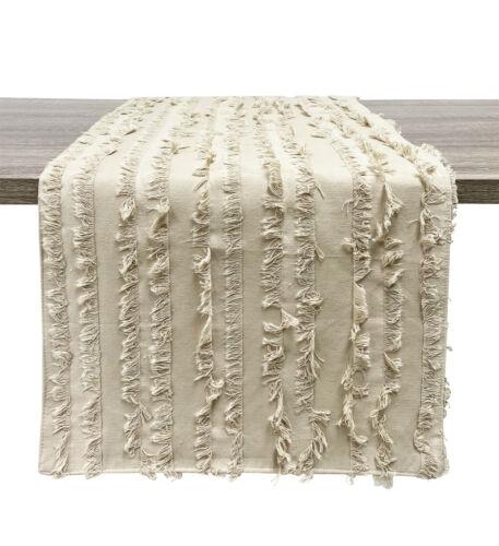 """Fennco Styles Modern Fringe Stripe Cotton 15/""""x72/"""" Table Runner 3 Colors"""