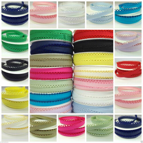 per metre beautiful picot lace edge bias binding 14 mm wide 21 colours//patterns