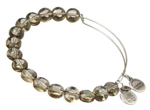Alex and Ani Smoke Luxe Bead Bangle bracelet  Russian SILVER BBEB111S