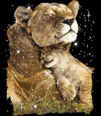 Lioness Contentment Lion Cub T-Shirt PLUS SIZE or SUPERSIZE Cat T379F Rhinestone
