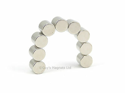 5 strong Neodymium disk magnets 8mm dia x 8mm N35 craft woodwork DIY MRO