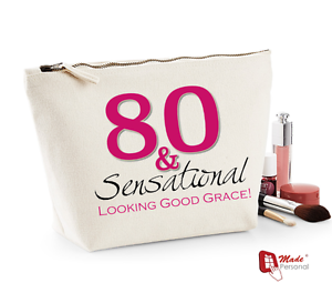 Image Is Loading Personalised Make Up Wash Bag 80th Birthday Gift