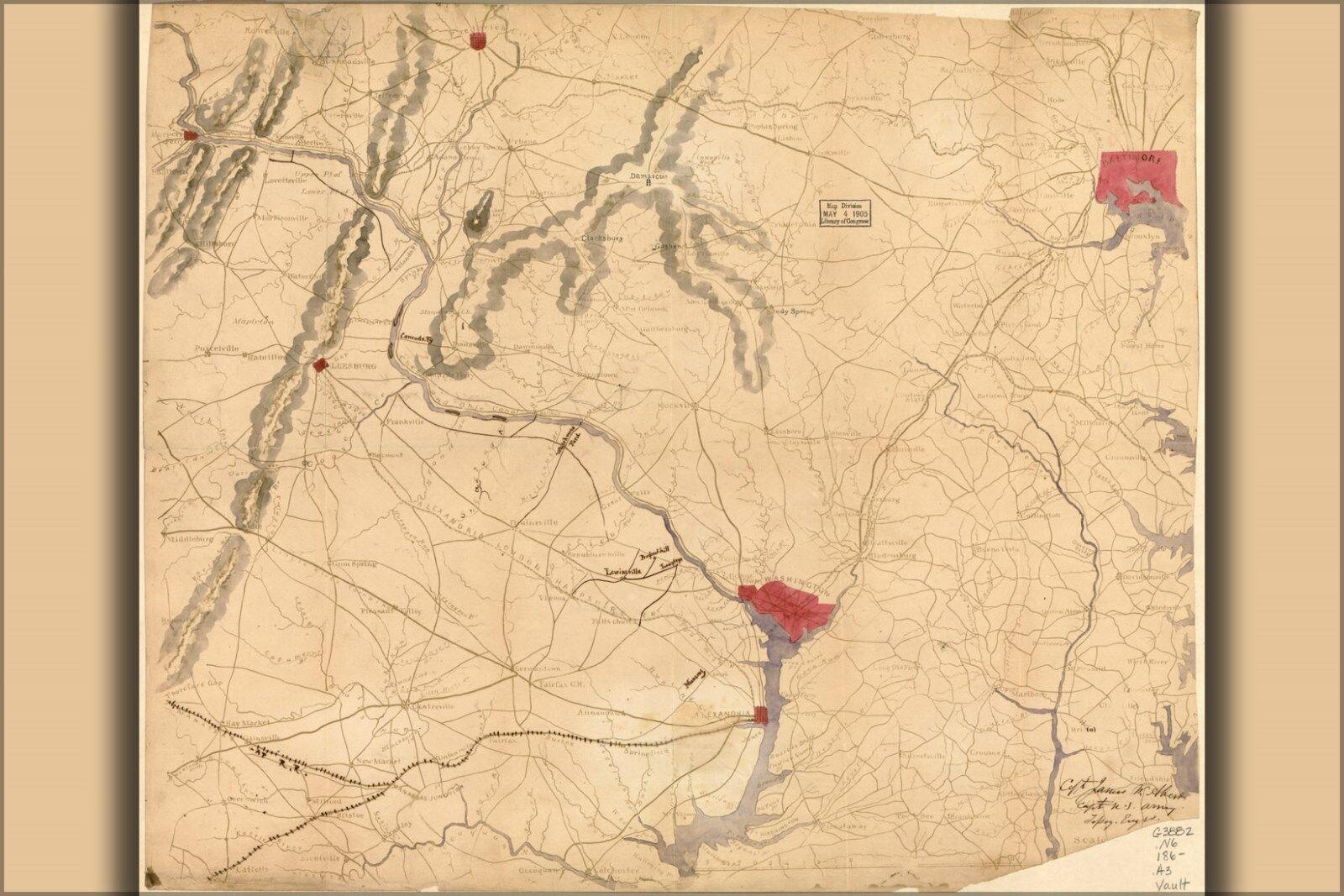 Plakat, Viele Größen; Karte von Nördlich Virginia & Teil Maryland 1862