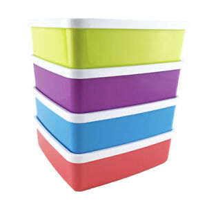 Tupperware-Blue-Lime-Red-amp-Purple-Large-Square-A-Way-620ml-Lunch-Box-4-Set