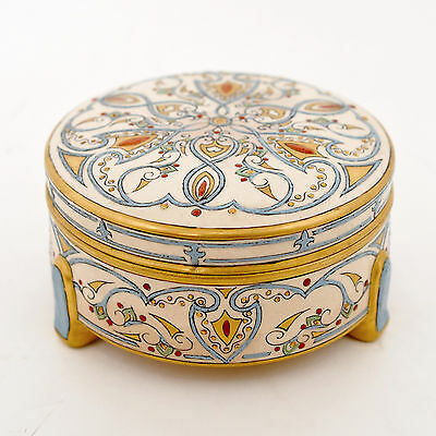 "1933 Fleur-De-Lis Motif Decor Satsuma Box, 4-3/4"" Round, Raised Enameled Signed"