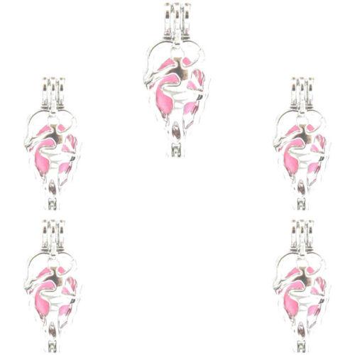 5PCS-L584 ballerina perle cage Diffuseur Médaillon Argent Clair Charme