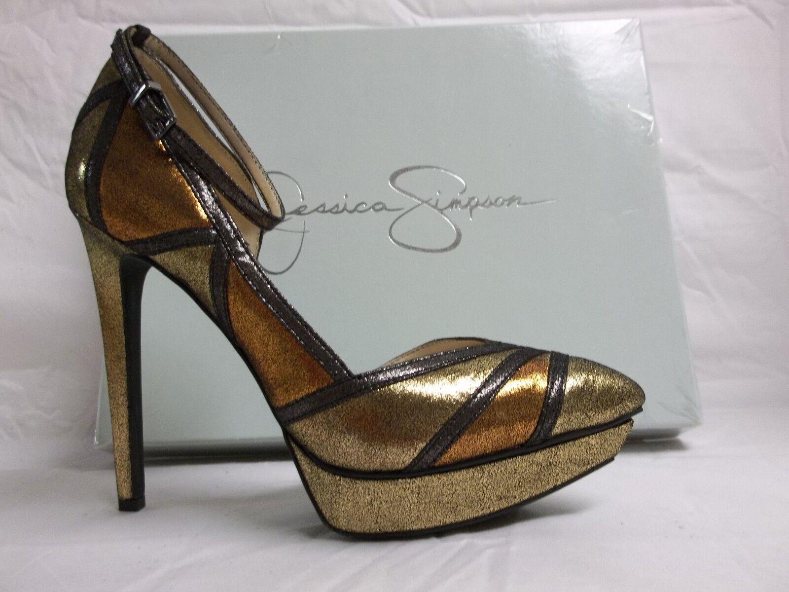 Jessica Simpson Größe 7.5 M Vindie Gold Combo Ankle Strap Heels NEU Damenschuhe Schuhes
