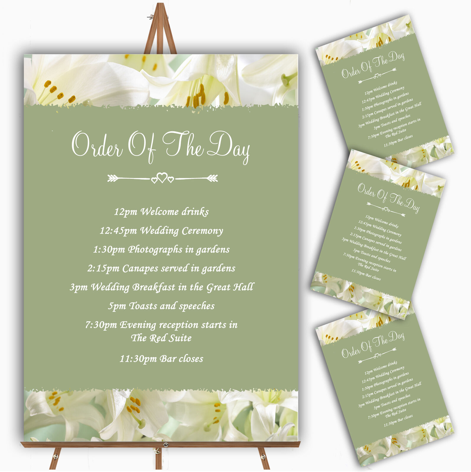 Weiß And Grün Calla Lily Personalised Wedding Order Of The Day Cards & Signs