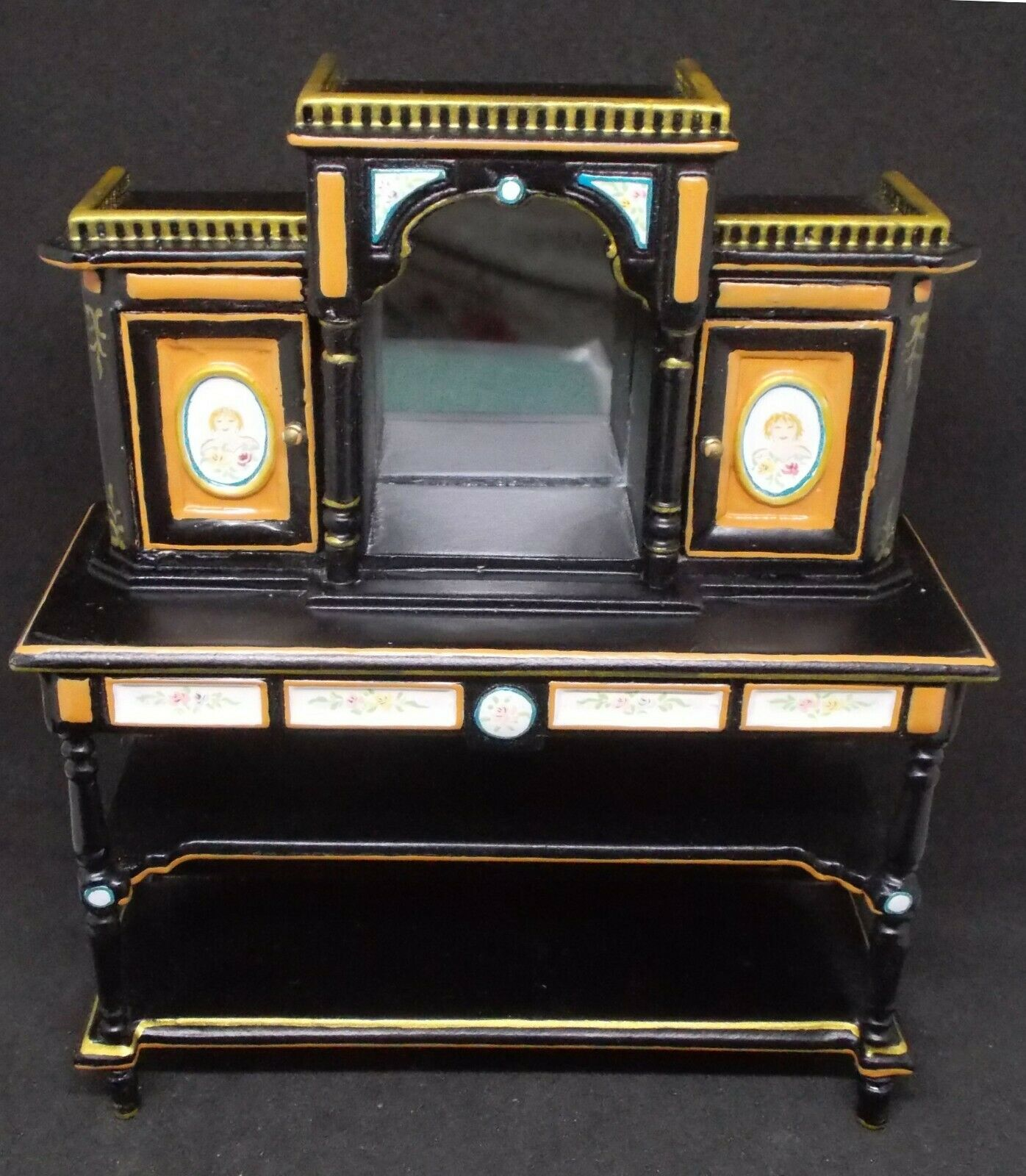 Dollhouse Miniature Hand painted painted painted MirrGoldt Display Cabinet by JBM 3dc9d2
