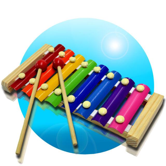 Kinder Xylophone Holz 8 Klänge Musik Instrument Spielzeug Lernen Xylophon