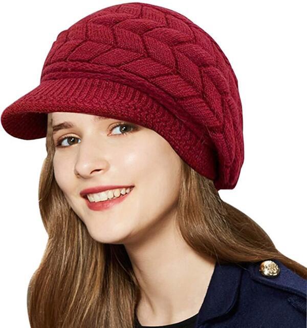 Winter Hats Woman W Visor Peaked Fleece Lined Slouchy Beanie Knitted Warm  Wool 318036310f5e