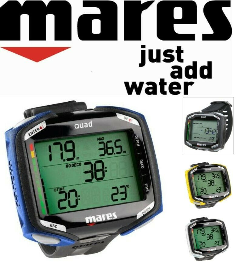 MARES QUAD Diving Decompression COMPUTER Multi gas Nitrox AIR Large Display NEW