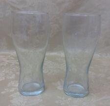 """Lot 2 Budweiser Beer 16 oz Clear Pilsner Glass 7"""" tall Raised Lettering Vtg"""