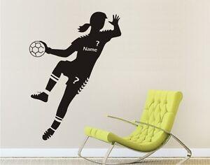 Wandtattoo-Wandaufkleber-Bild-HANDBALL-Sport-HANDBALLERIN-Handballspielerin-Name