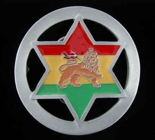 RASTAFARI REGGAE LION OF ZION STAR BELT BUCKLE SOLID PEWTER NEW!