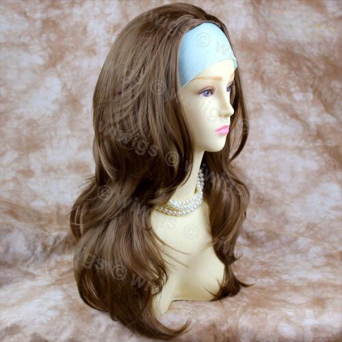 Wiwigs marrone chiaro lungo a strati ondulato 3//4 FALL parrucca mezza parrucca donna