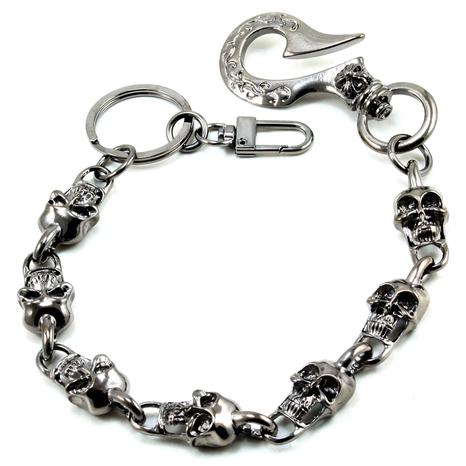 """Silver CS103 14/"""" DK Short Skull Classic Biker Trucker Key Jean Wallet Chain"""