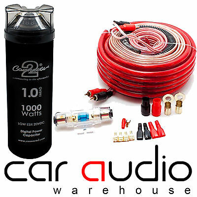 Connects2 4 AWG 2000 Watt Car Amp Wiring Kit + 1 Farad Power Cap Capacitor Kit