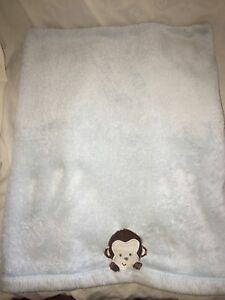Erfinderisch Tiddliwinks Massiv Hell Blau Babydecke Braun Creme Bestickt Affe Baby