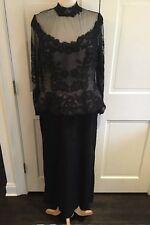 Vintage Rose Taft Victorian Black Peplum Lace Evening Dress Gown Sz 8 10 USA