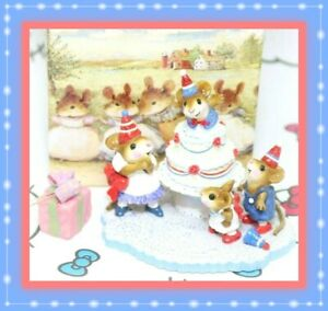 ❤️Wee Forest Folk Surprise! M-2002 30th Anniversary Party Red White Blue Mice❤️