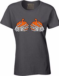 339179a3d Image is loading Pumpkin-Skeleton-Hands-Boobs-Women-039-s-T-shirt-