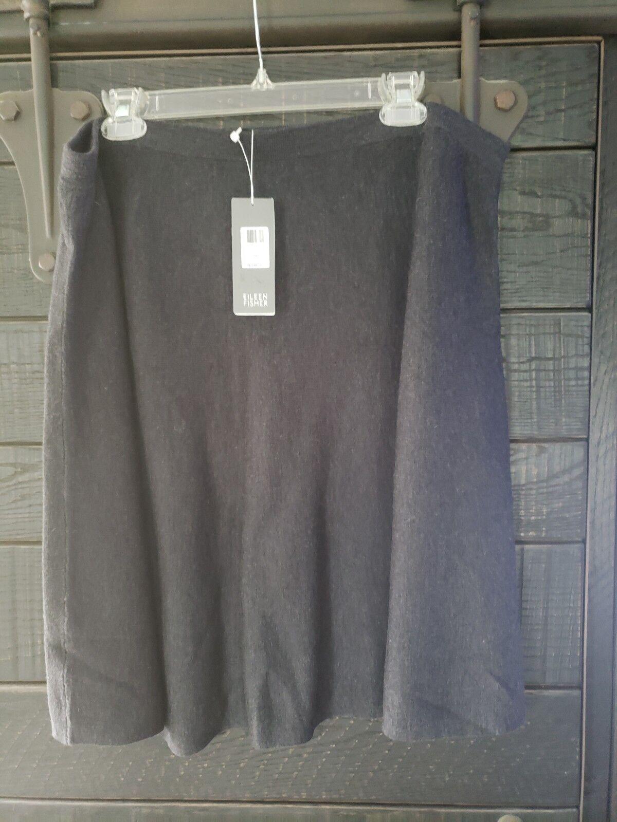 248 NWT Eileen Fisher Fine Merino Wool CHARCOAL  Grey Asym Skirt 1X