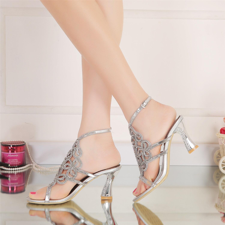 New Boho Rhinestone  Shoes Wedding Bride High Heel Platform Evening Dress Sandal Shoes  6233f1