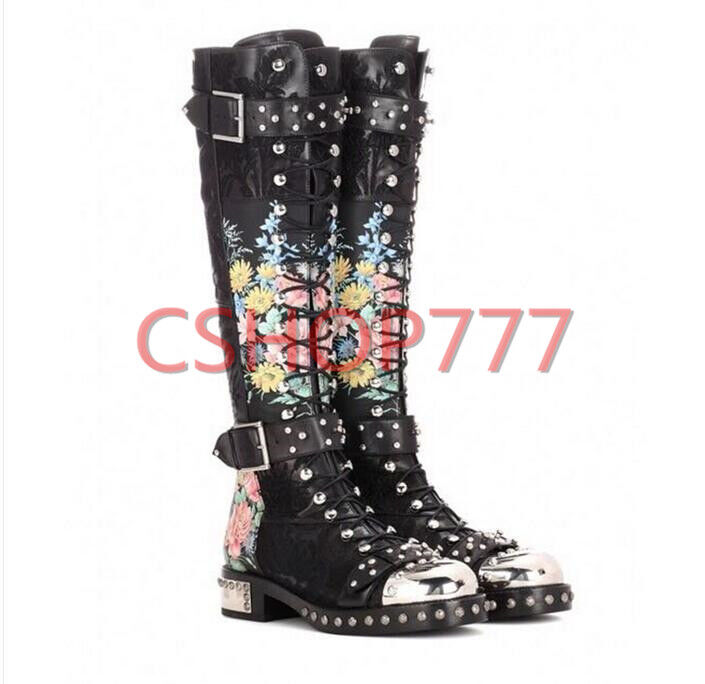 femmes punk Knee High High High knight bottes studded lace up floral cuban heel chaussures Buckle e2c32e