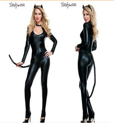 Women Fancy Dress Anime Catwoman Costume Adult Sexy Cat Gothic Cosplay Lingerie