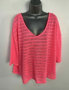 WOMENS-NEXT-NEON-PINK-STRIPE-CASUAL-PULLOVER-JUMPER-SWEATER-TOP-PLUS-SIZE-UK-20