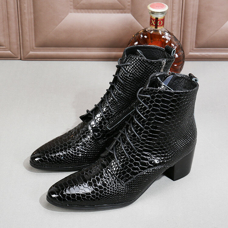 British Style Men's Lace up Low Block Ankle Boot Chukka Motorcycle Leather shoes