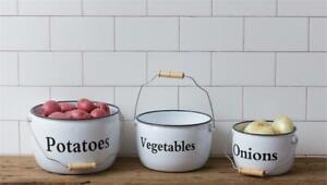 New Primitive Farmhouse Vintage White Black 3 ENAMEL VEGETABLE BOWL Pot Bucket