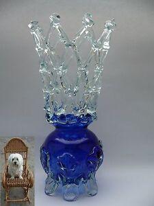1 Wahl Murano Vase 28 cm Kronenvase mundgeblasen blau Glas Vase 970 g