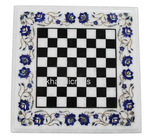 18 Inches Marble Corner Table Top Handmade Chess table Pietra Dura Art at Border