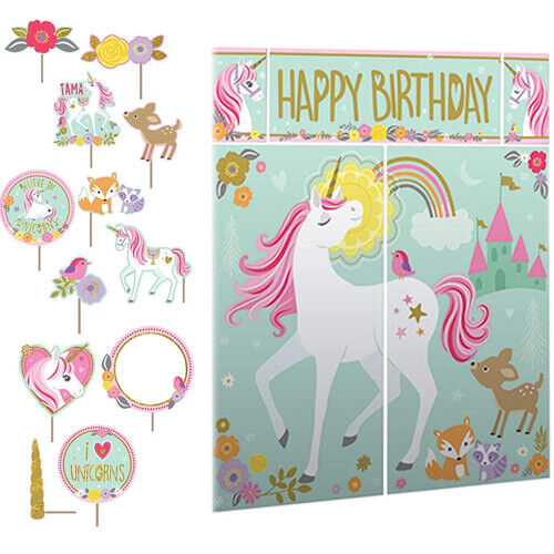 Giant Unicorn Photo Booth Backdrop Scene Party Decoration /& 12 Photo Props New