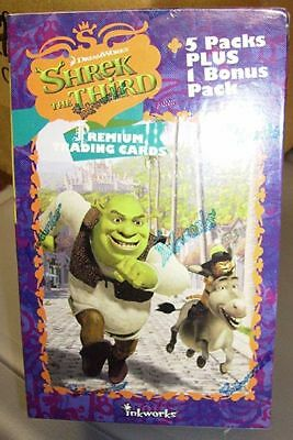 Shrek The Third Premium Trading Cards Sealed Box New 5 Packs Plus 1 Bonus Pack