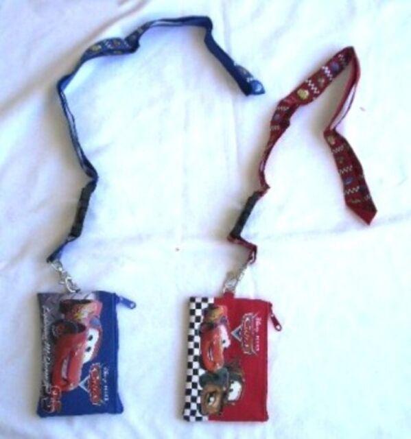 Disney Cars McQueen Red Lanyard ID Ticket Badge Key Chain Holder Wallet