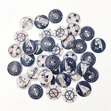 50 WOODEN  BUTTONS BLUE & WHITE NAUTICAL SAILING CRAFT SCRAPBOOK SEW CARDMAKING