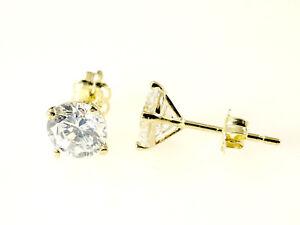 333 Gold Ohrstecker 1 Paar 6mm Grösse 4 Krappen mit Zirkonia Steinen