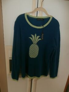 Details about nwt hannah rose modern pineapple fun modern 100% cashmere sweater L