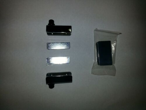 with Touch Latch Plate Glass Door Pivot Hinge Chrome Pair
