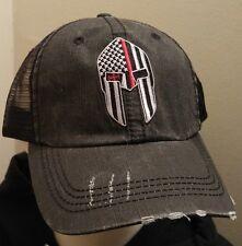 Red Line Spartan Flag Unstructured Cotton Twill Distressed Mesh Trucker Hat
