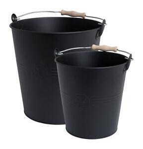 2-teiliges-Metall-Eimer-Set-schwarz-mit-Holzgriff