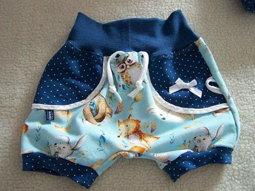 Baby kurze Pumphose Sweatjersey Tiere von größe 56 bis 92 Handmade*