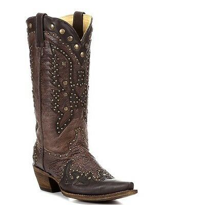 Corral Ladies Brown/Chocolate Eagle Inlay And Stud Boot A2607 NIB