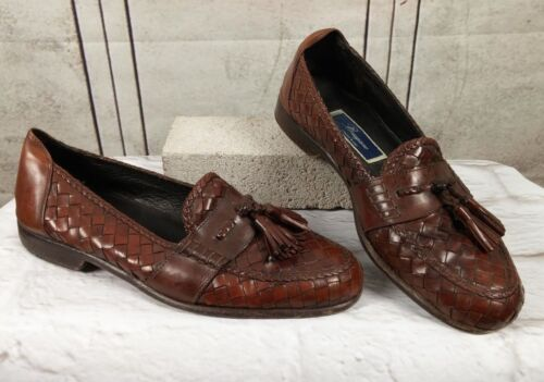 BRAGANO Woven Loafers Leather Tassel Shoes Sz 10 M